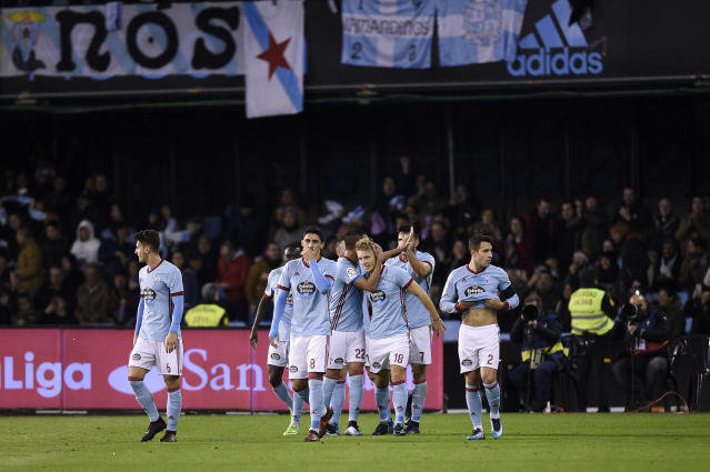 Celta celebrate against Real Madrid
