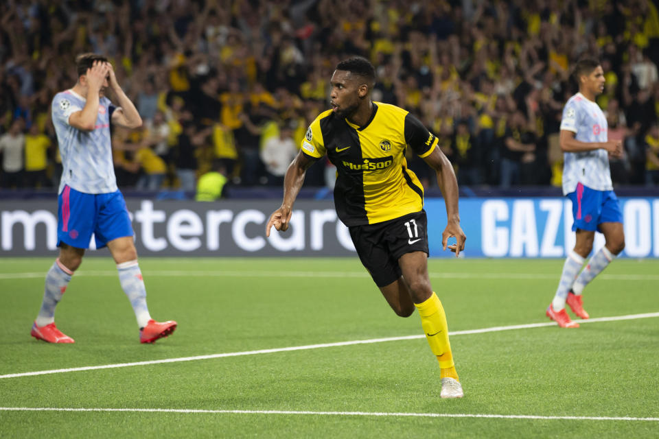 Young Boys' Jordan Siebatcheu celebrates after scoring during the Champions League group F soccer match between BSC Young Boys and Manchester United, at the Wankdorf stadium in Bern, Switzerland, Tuesday, Sept. 14, 2021. (Peter Klaunzer/Keystone via AP)
