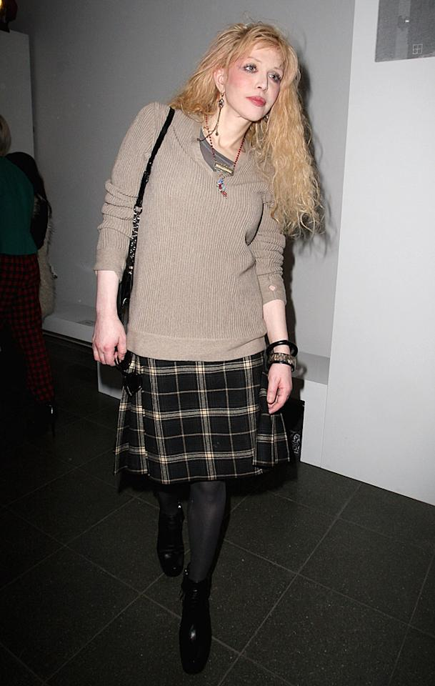 "Come on Courtney, it's Fashion Week ... make an effort! Love looked like an old grandma when she showed up to the Pringle Of Scotland show in a dowdy sweater and kilt. Danny Martindale/<a href=""http://www.wireimage.com"" target=""new"">WireImage.com</a> - February 22, 2010"