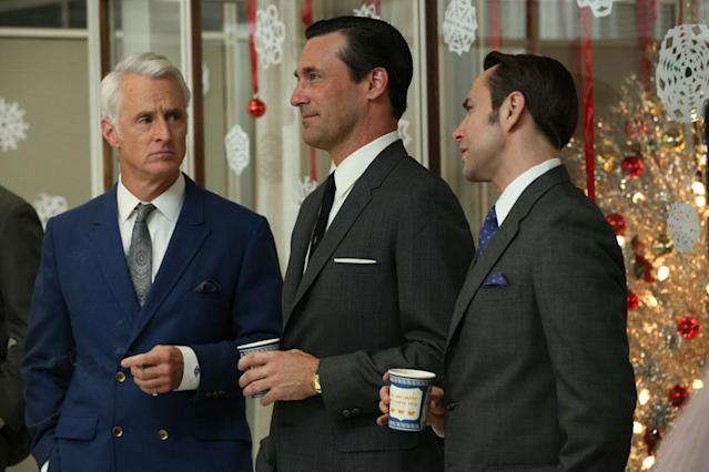 "Roger Sterling (John Slattery), Don Draper (Jon Hamm) and Pete Campbell (Vincent Kartheiser) in Part 1 of the ""Mad Men"" Season Premiere, ""The Doorway."""