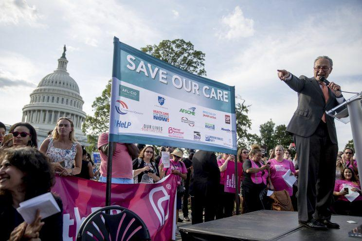 Senate Minority Leader Chuck Schumer, D-N.Y., speaks at a rally against the Senate GOP health care bill, June 28, 2017