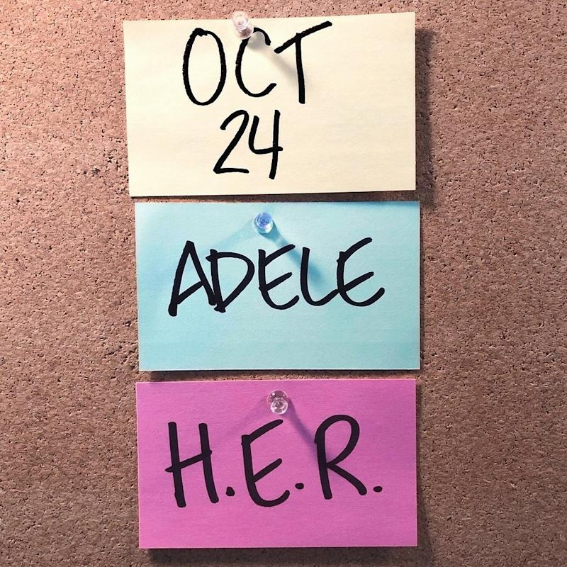 Adele shared a photo of post-it notes to reveal her hosting gig. Photo: Instagram/Adele