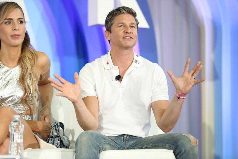 NEW YORK, NEW YORK - JUNE 22: David Burtka speaks on stage during the POPSUGAR Play/ground at Pier 94 on June 22, 2019 in New York City. (Photo by Monica Schipper/Getty Images for POPSUGAR and Reed Exhibitions )