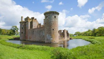 A castle surrounded by a moat