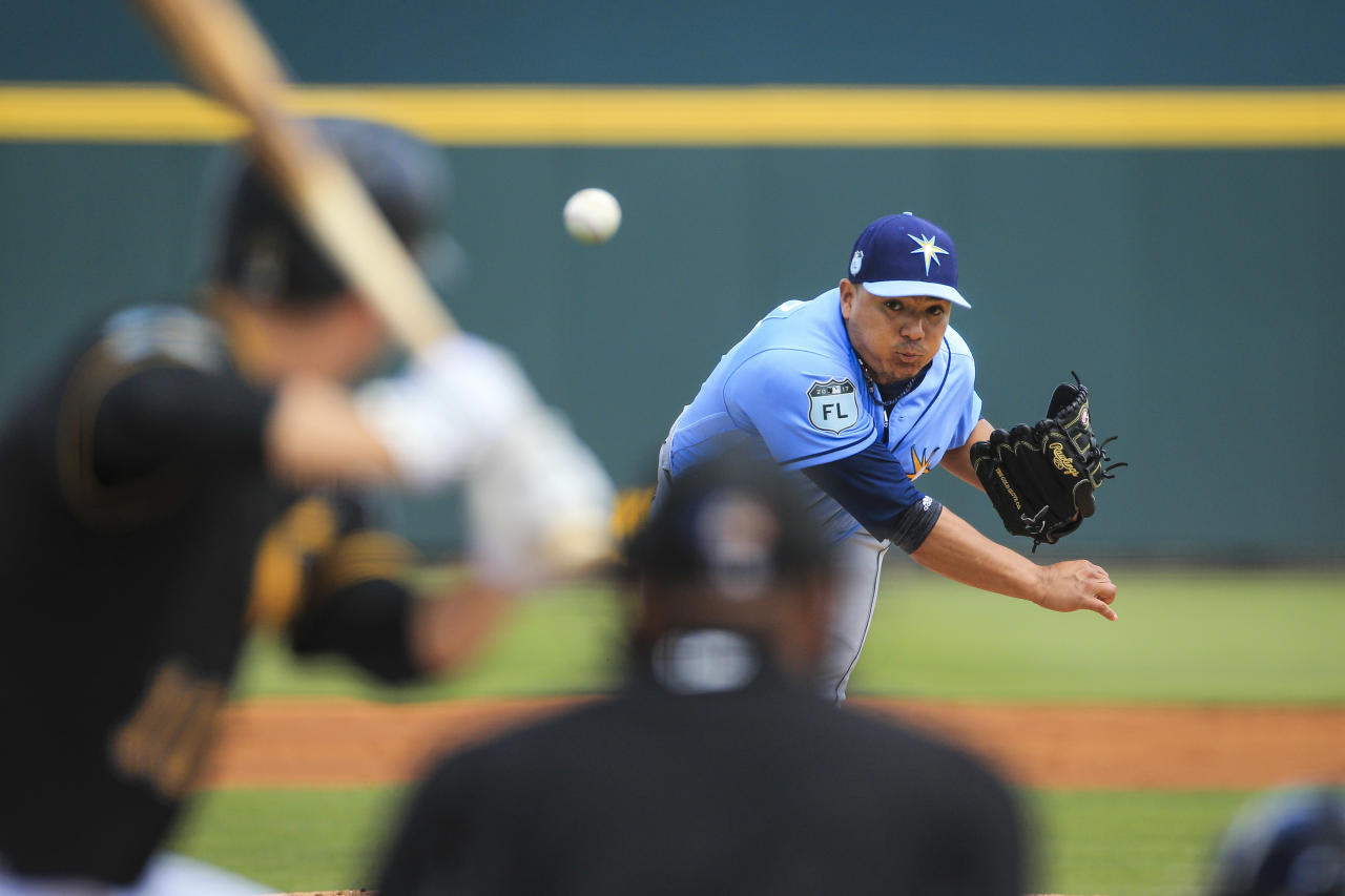 Tampa Bay Rays relief pitcher Erasmo Ramirez throws against the Pittsburgh Pirates during the first inning of a spring training baseball game in Bradenton, Fla., Friday, March 24, 2017. (Will Vragovic/The Tampa Bay Times via AP)