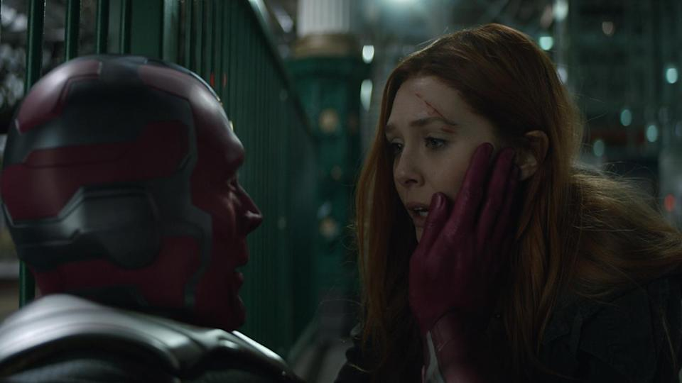 """<p> Like the upcoming Black Widow movie, this new Marvel TV show is one to file in the """"Hang on a sec, aren't they dead?"""" column. </p> <p> Focusing on Elizabeth Olsen's Scarlet Witch and Paul Bettany's Vision, the Disney Plus series, which had an original release window of December 2020 (now """"coming soon"""" in 2020), will revisit the boy-meets-girl story that was doomed in the most unlikely of circumstances – y'know, when the boy had a stone with the power to destroy the universe forcibly removed from his forehead in Avengers: Infinity War. <em>That</em>. </p> <p> WandaVision's premise, though, is wholly unique to not just the MCU but perhaps in all of television. As the new trailer shows, Wanda will be pulling out all the surreal sitcom stops to keep her loved one by her side. Is it a set-up of her own making? Well, she's pregnant in one scene and married in another. This domestic bliss, while all happy and homely at first glance, could soon tear apart at the seams, especially if Wanda if sub-consciously calling the shots. </p> <p> Of course, Elizabeth Olsen and Paul Bettany return in the post-Endgame adventure. WandaVision will also star Teyonah Parris as an all-grown-up version of Monica Rambeau (who later becomes Photon in the comics) from Captain Marvel and Kat Dennings returns as her Thor character, Darcy Lewis. </p> <p> Hinting at the show's direction at SDCC 2019, Kevin Feige says: """"It's unlike anything we've ever done before."""" It will also serve as a lead-in to another big Marvel Phase 4 project, Doctor Strange in the Multiverse of Madness. Olsen may reprise her role as Wanda Maximoff there, too. </p> <p> Speaking of which (witch?), Wanda is going to be developed far more than she ever was on the silver screen. Olsen told a buzzing Hall H crowd at SDCC: """"We're gonna have a lot of fun. We're gonna get weird, it's gonna get deep, and have lots of surprises. We're finally going to understand Wanda Maximoff."""" </p> <p> How weird? Check out this new WandaVision pos"""