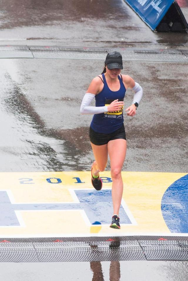 "<span class=""element-image__caption"">Sarah Sellers crosses the finish line.</span> <span class=""element-image__credit"">Photograph: Ryan Mcbride/AFP/Getty Images</span>"