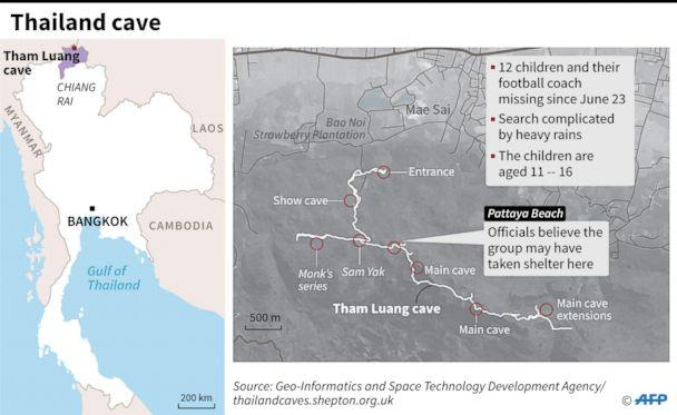 PHOTO: Map shows location and possible path taken by soccer team that went missing in a cave in Thailand. (AFP via Newscom)