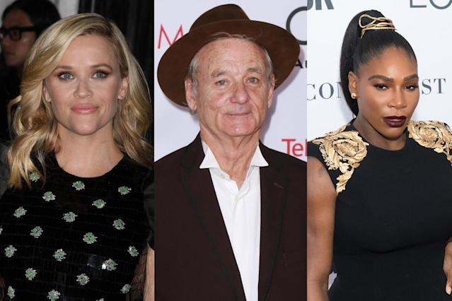 Reese Witherspoon, Bill Murray, and Serena Williams will give them something to talk about. (Photo: Getty Images)