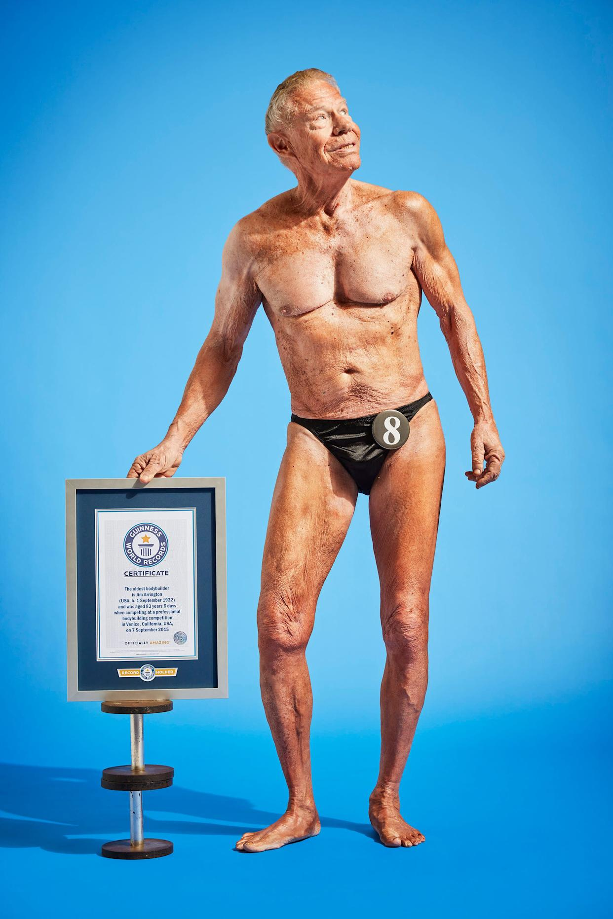 Jim Arrington was officially declared the World's Oldest Bodybuilder in 2013 when he competed in a professional contestin Venice Beach, California, at the age of 83 years, six days.