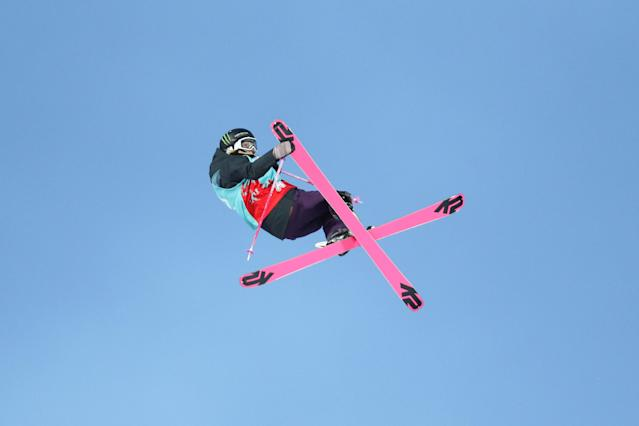 Freestyle Skiing - X Games Women's Big Air Ski finals - Hafjell, Norway - 11/03/17 - Bronze medalist Maggie Voisin from U.S. in action. NTB Scanpix/Geir Olsen/via REUTERS ATTENTION EDITORS - THIS IMAGE WAS PROVIDED BY A THIRD PARTY. FOR EDITORIAL USE ONLY. NORWAY OUT. NO COMMERCIAL OR EDITORIAL SALES IN NORWAY. NO COMMERCIAL SALES.