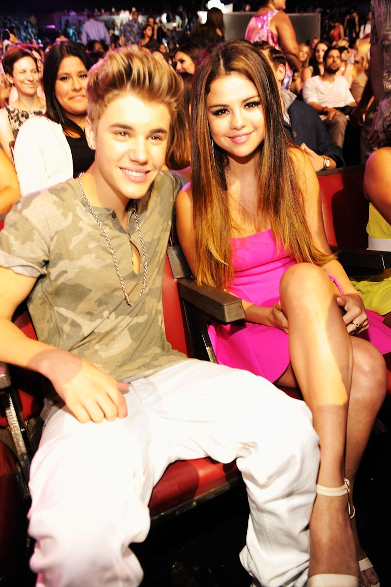Justin Bieber and Selena Gomez at the 2012 Teen Choice Awards at Gibson Amphitheatre on July 22, 2012 in Universal City, California. (Photo by Kevin Mazur/TCA 2012/WireImage)
