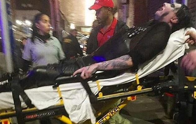 Marilyn Manson is stretchered out of the venue. Source: Instagram