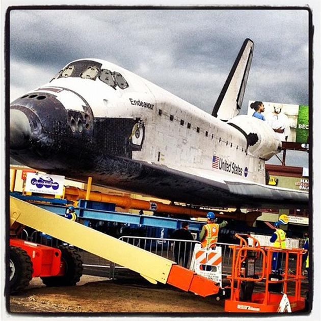 Taking #Endeavour pics for you and @yahoolookout today. (Photo courtesy of Yahoo! editor Max Zimbert)