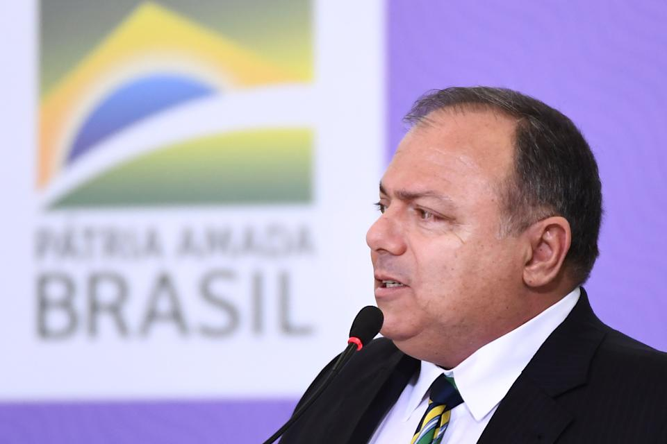 Brazilian Health Minister Eduardo Pazuello delivers a speech during the launch of the  national vaccination plan against the novel coronavirus Covid-19 at Planalto Palace in Brasilia, on December 16, 2020. - The government has not released a date for the start of the vaccination but commits to start the process 5 days after the approval of a vaccine by the health agency (ANVISA) and expects to take 12 to 16 months to vaccinate the entire Brazilian population. (Photo by EVARISTO SA / AFP) (Photo by EVARISTO SA/AFP via Getty Images)