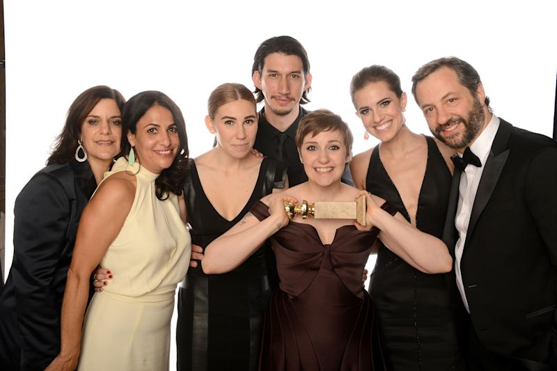 BEVERLY HILLS, CA - JANUARY 13: (L-R) Writer/Producer Jennifer Konner, actresses Zosia Mamet, Adam Driver, Lena Dunham, Allison Williams and producer Judd Apatow of 'Girls' pose for a portrait at the 70th Annual Golden Globe Awards held at The Beverly Hilton Hotel on January 13, 2013 in Beverly Hills, California. (Photo by Dimitrios Kambouris/Getty Images)
