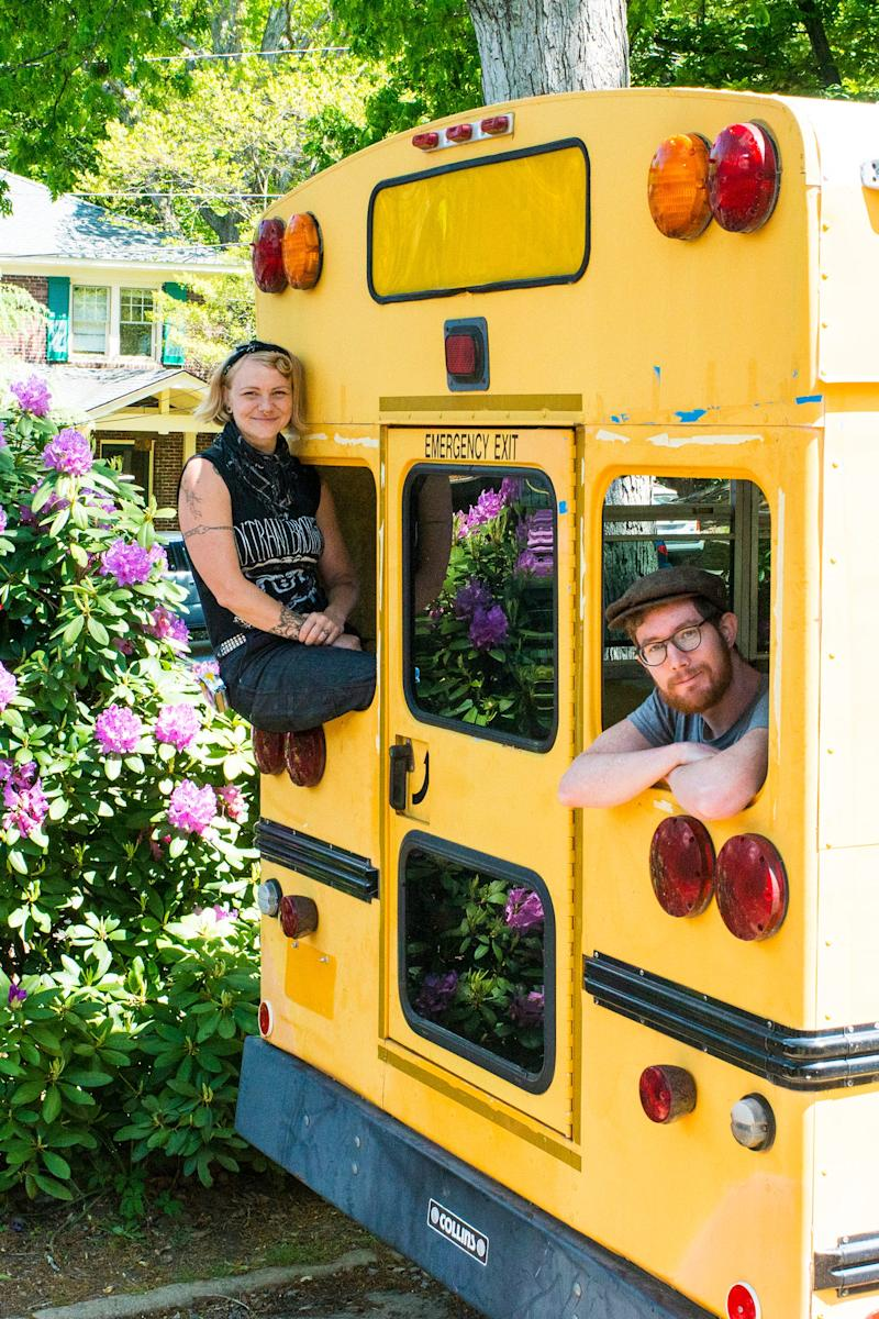 Sparrow Kettner, 36, and her husband Keith Smith, 29, converted an old, yellow school bus into their future home.