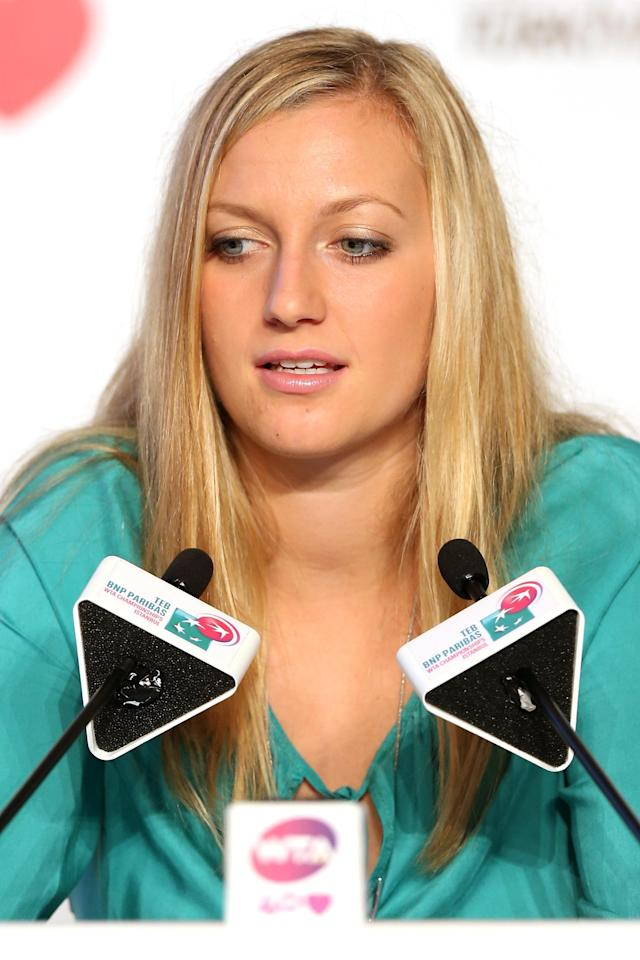 ISTANBUL, TURKEY - OCTOBER 21: Petra Kvitova of Czech Repubic fields questions from the media at the WTA All Access Hour before the start of the WTA Championships at the Renaissance Polat Hotel on October 21, 2013 in Istanbul, Turkey. (Photo by Matthew Stockman/Getty Images)
