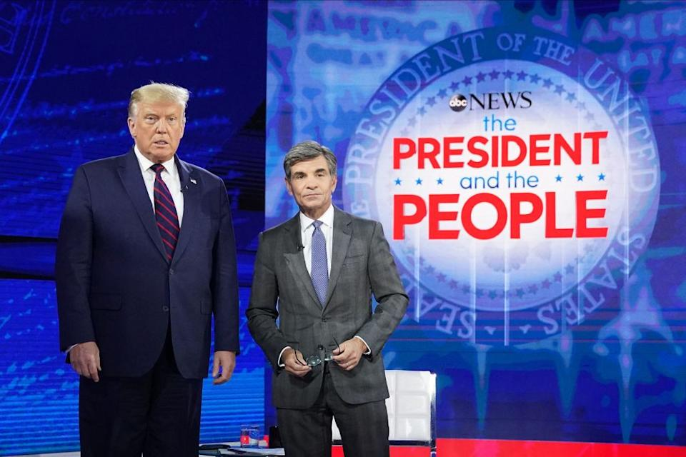 Donald Trump seen posing with ABC New anchor George Stephanopoulos.