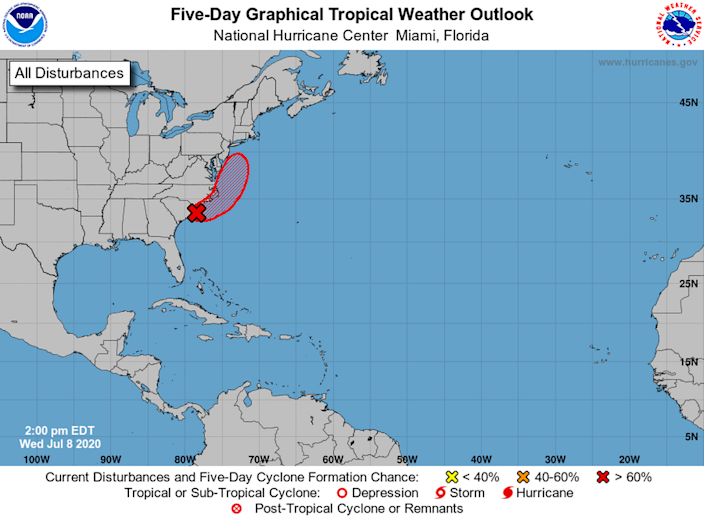 Forecasters say a tropical storm is expected to form off the coast Thursday or Friday.