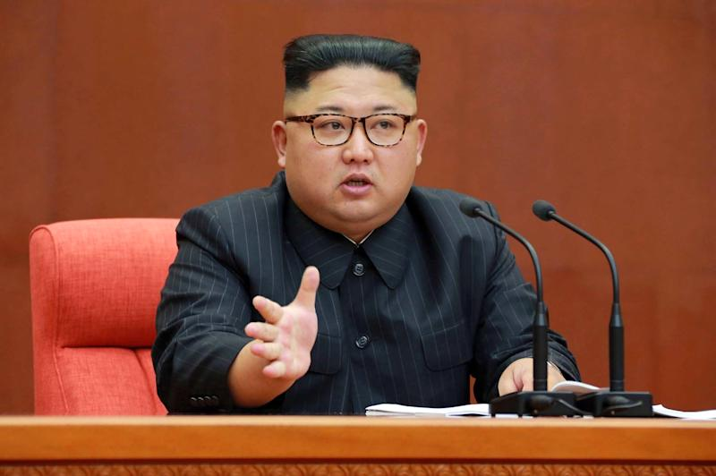 North Korean leader Kim Jong Un speaks during a meeting of the central committee of the Workers' Party of Korea in Pyongyang. (Korean Central News Agency/Korea News Service via AP)