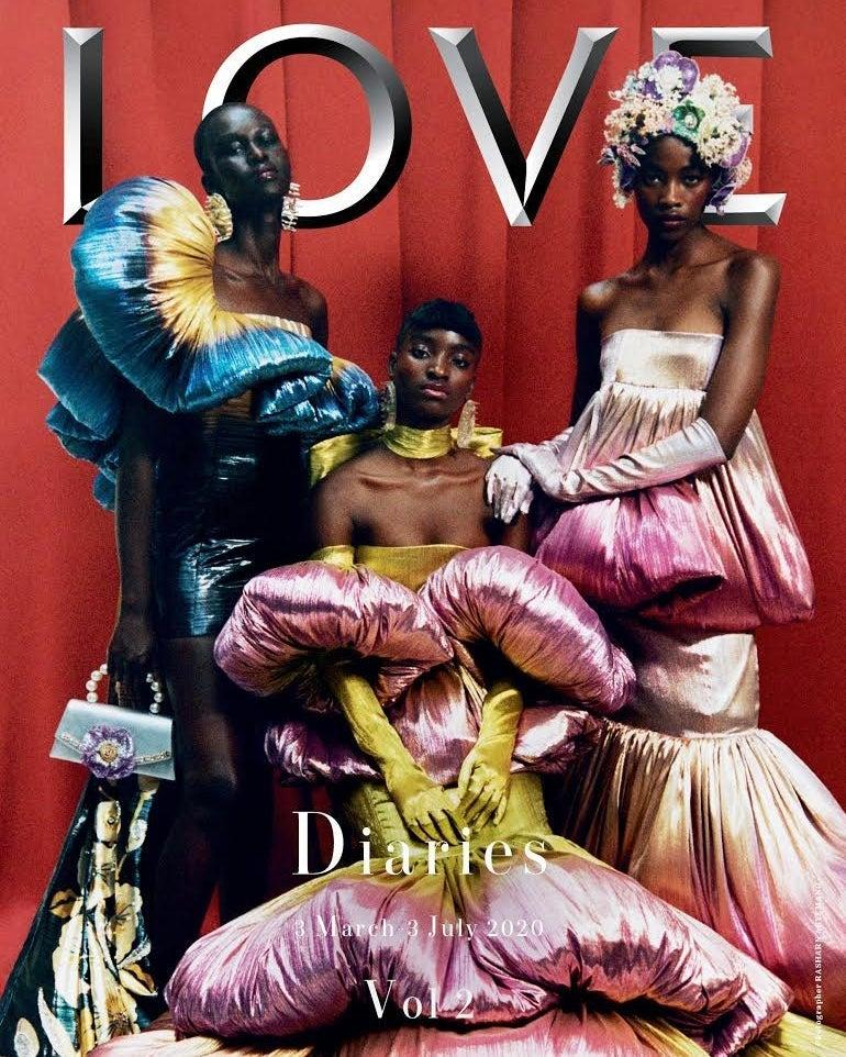 The cover of the new LOVE Magazine (Photography: Rasharn Aygemang)