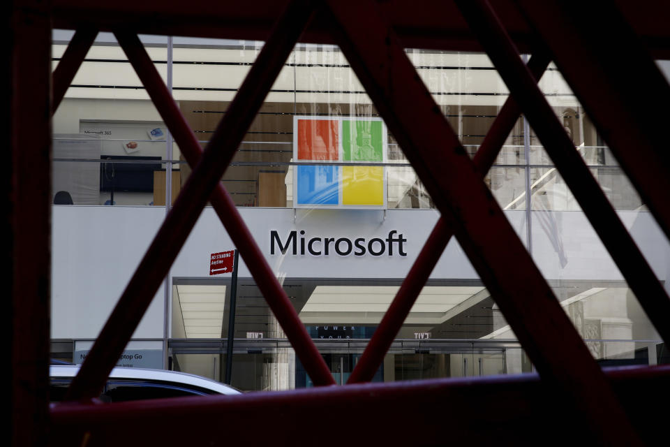 NEW YORK, NEW YORK - MARCH 10: View of a Microsoft store on March 10, 2021, in New York. The Nasdaq Composite continued falling more than half a percent during the day. Also, the move away from Apple Inc, Amazon.com Inc , Facebook Inc, Tesla Inc and Microsoft Corp, falling during the day, helped small-cap stocks rise more than double the gains of the S&P 500. (Photo by John Smith/VIEWpress)