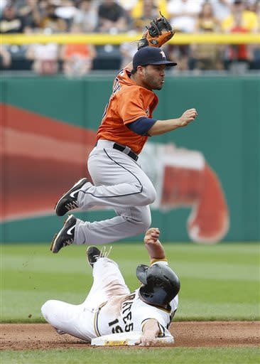 Houston Astros second baseman Jose Altuve, top, hops over Pittsburgh Pirates' Michael McKenry as he is forced out on a fielders choice on a ground ball to third by Clint Barmes in the fifth inning of the MLB interleague baseball game on Sunday, May 19, 2013, in Pittsburgh. (AP Photo/Keith Srakocic)