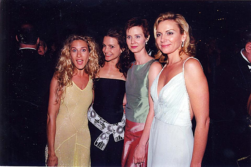 Sarah Jessica Parker, Kristin Davis, Cynthia Nixon and Kim Cattrall attend the 51st Annual Primetime Emmy Awards on September 9,1999.  (Photo by Jeff Kravitz/FilmMagic, Inc)