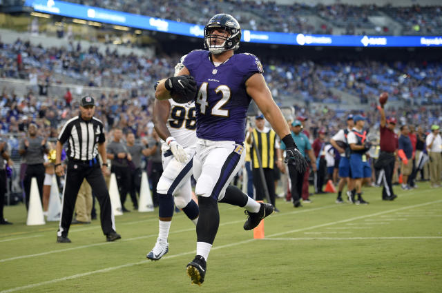 """<a class=""""link rapid-noclick-resp"""" href=""""/nfl/players/30592/"""" data-ylk=""""slk:Patrick Ricard"""">Patrick Ricard</a> was inactive for the Ravens last Sunday, but he still became one of the team's biggest stories. (AP Photo)"""