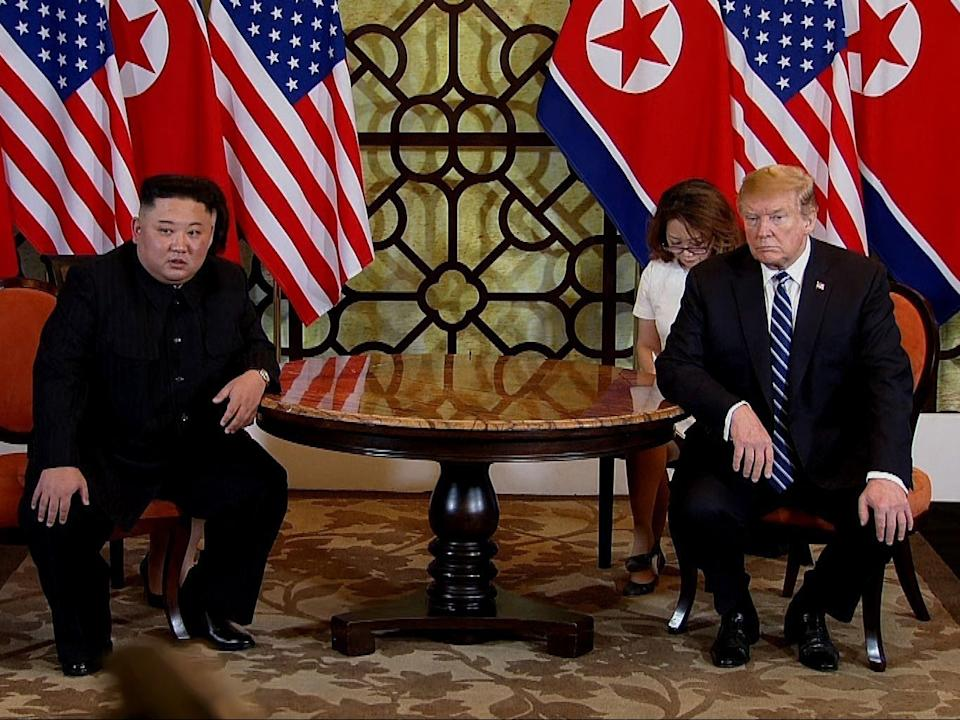 Donald Trump and North Korean leader Kim Jong-un during their second summit meeting, 28 February, 2019Getty Images