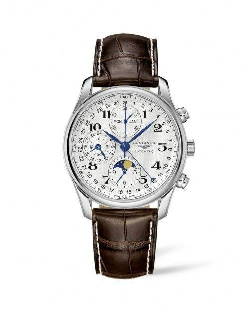 """<p>longines.com</p><p><strong>$3325.00</strong></p><p><a href=""""https://shop.us.longines.com/l26734783-the-longines-master-collection-40mm-stainless-steel-chronograph-with-moon-phase.html"""" rel=""""nofollow noopener"""" target=""""_blank"""" data-ylk=""""slk:Shop Now"""" class=""""link rapid-noclick-resp"""">Shop Now</a></p><p>The blue steel hands of this stainless steel and alligator chronograph offers a modern edge to the classic styling of its versatile dial which features sub-dials for the moon phase, date, and a 24 hour indicator.</p><p>Case size: 40mm</p>"""