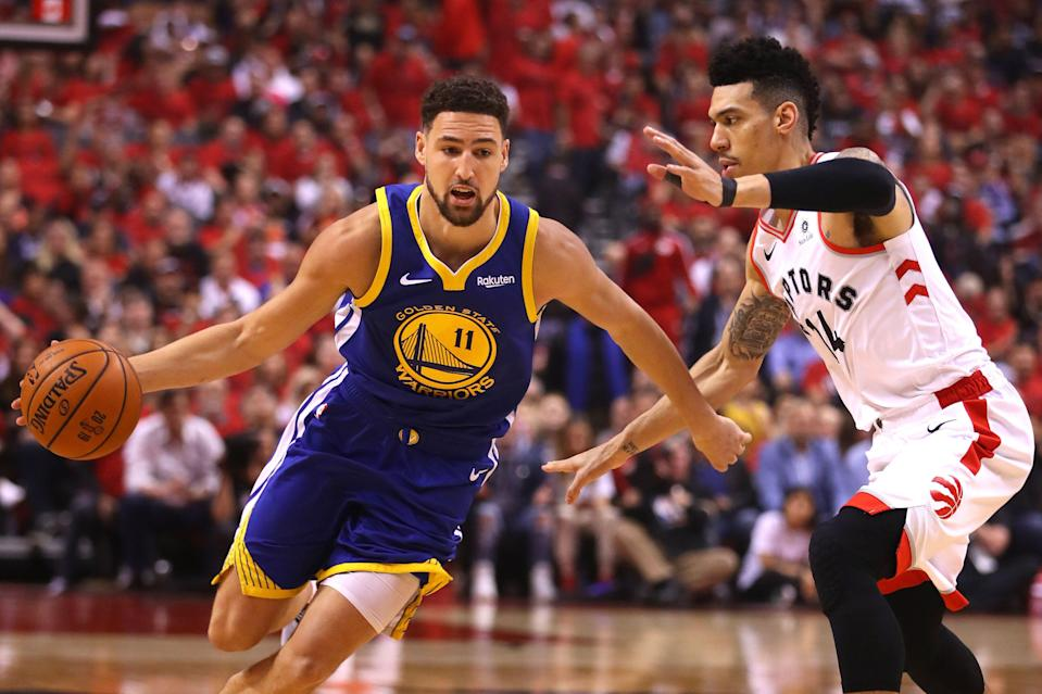 """Klay Thompson is reportedly """"likely questionable"""" for Game 3 after an MRI confirmed that he suffered a hamstring strain. (Getty)"""