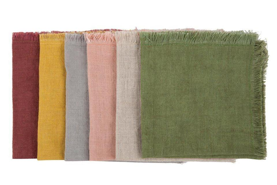 """<p><strong>Sir   Madam</strong></p><p>burkedecor.com</p><p><strong>$48.00</strong></p><p><a href=""""https://www.burkedecor.com/products/vintage-cocktail-solid-linen-napkins-set-of-6-design-by-sir-madam"""" rel=""""nofollow noopener"""" target=""""_blank"""" data-ylk=""""slk:Discover"""" class=""""link rapid-noclick-resp"""">Discover</a></p><p>Always have a stash of simple washed linen cocktail napkins.</p>"""