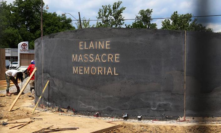 "<span class=""element-image__caption"">A monument under construction in June, honoring victims of the Elaine Massacre.</span> <span class=""element-image__credit"">Photograph: Noreen Nasir/AP</span>"
