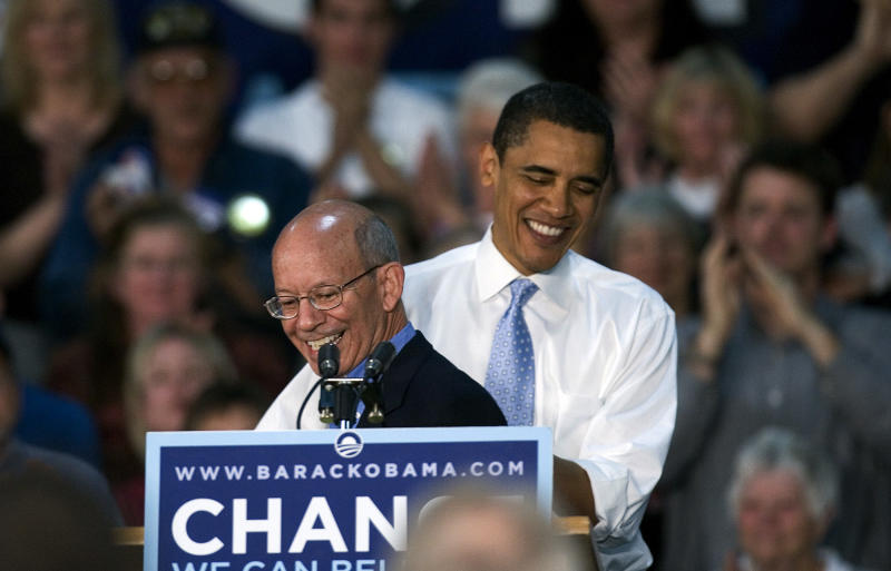 In this Friday, May 9, 2008 file photo, Democratic presidential hopeful, Sen. Barack Obama, D-Ill.,  right, shares a smile with Oregon Rep. Peter DeFazio, in Albany, Ore. DeFazio is one of the sponsors of new legislation proposed Wednesday, Sept. 14, 2011,  to raise the payroll tax that funds Social Security, but only for people earning more than $250,000 a year.  The bill's sponsors noted that during his 2008 presidential campaign, Obama proposed raising the payroll tax on people earning over $250,000, but has yet to offer legislation following through on it. (AP Photo/Don Ryan)