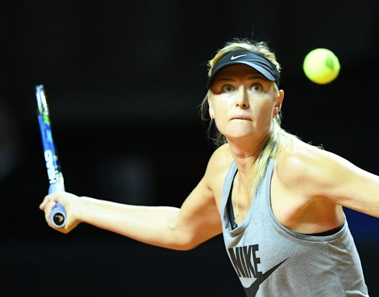 Russian tennis player Maria Sharapova returns the ball during a training session at the WTA Tennis Grand Prix in Stuttgart, southern Germany, on April 26, 2017