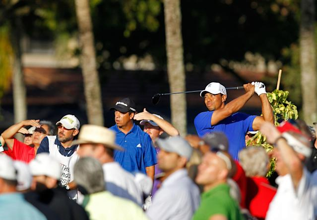 PALM BEACH GARDENS, FL - MARCH 02: Tiger Woods hits his tee shot on the tenth hole during the second round of the Honda Classic at PGA National on March 2, 2012 in Palm Beach Gardens, Florida. (Photo by Mike Ehrmann/Getty Images)