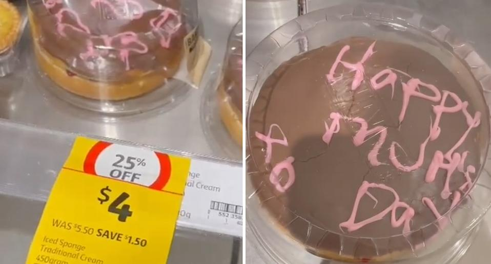 Cake with messy decoration from Coles pictured.