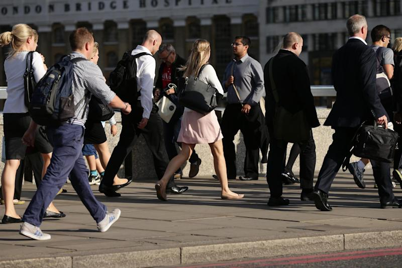 Fit and healthy: City workers walking along London Bridge: PA Archive/PA Images