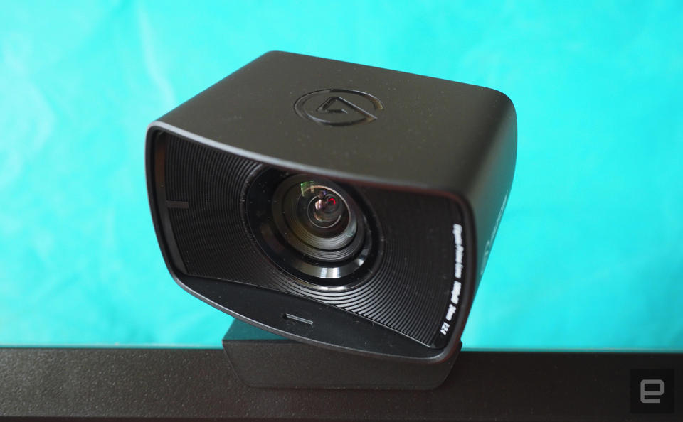 Elgato FaceCam mounted on top of a monitor