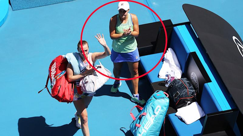 Ash Barty, pictured here applauding Petra Kvitova after their match at the Australian Open.