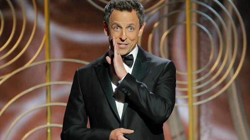 Comedian Seth Meyers pulled no punches in his opening monologue. Source: NBC