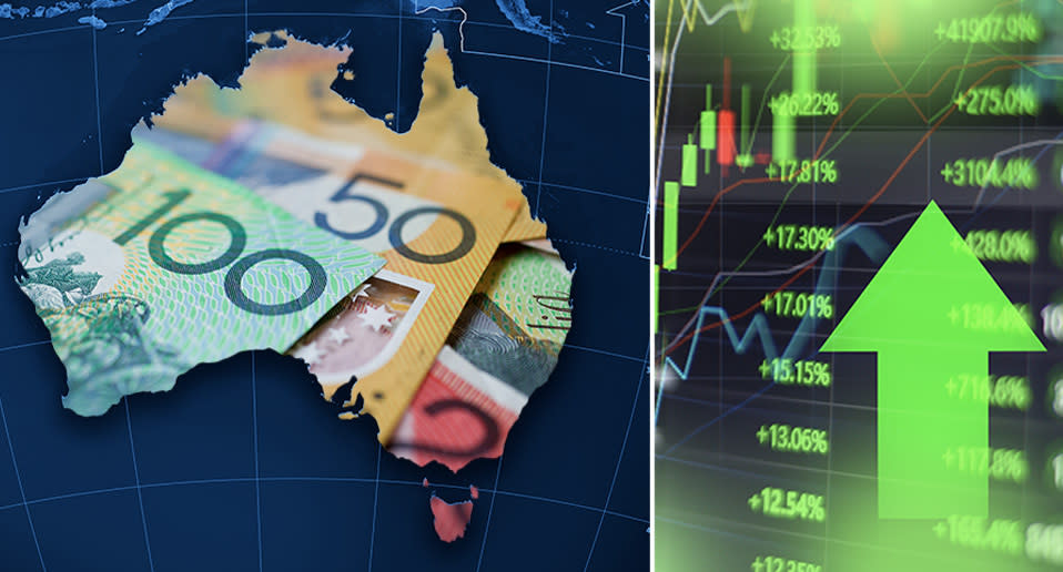 Edited image of Australian dollars inside outline of Australia with a graph showing numbers rising.