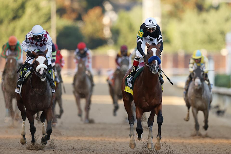 It was a close finish between Authentic and Tiz the Law at Churchill Downs. (Photo by Gregory Shamus/Getty Images)