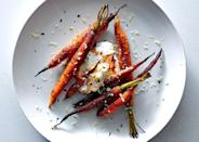 "The sugar in the spice rub can burn if cooked too long, so watch these closely. <a href=""https://www.bonappetit.com/recipe/spice-crusted-carrots-with-harissa-yogurt?mbid=synd_yahoo_rss"" rel=""nofollow noopener"" target=""_blank"" data-ylk=""slk:See recipe."" class=""link rapid-noclick-resp"">See recipe.</a>"