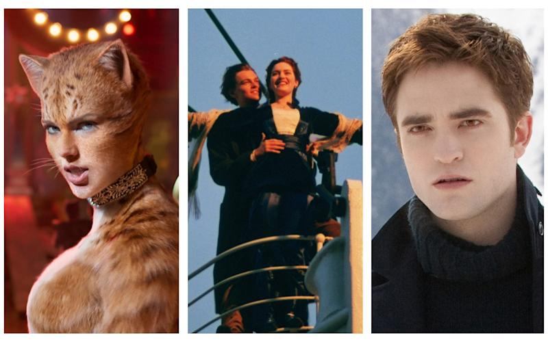 Wrong turns: (l-r) Taylor Swift in Cats, Kate Winslet in Titanic, Robert Pattinson in Twilight
