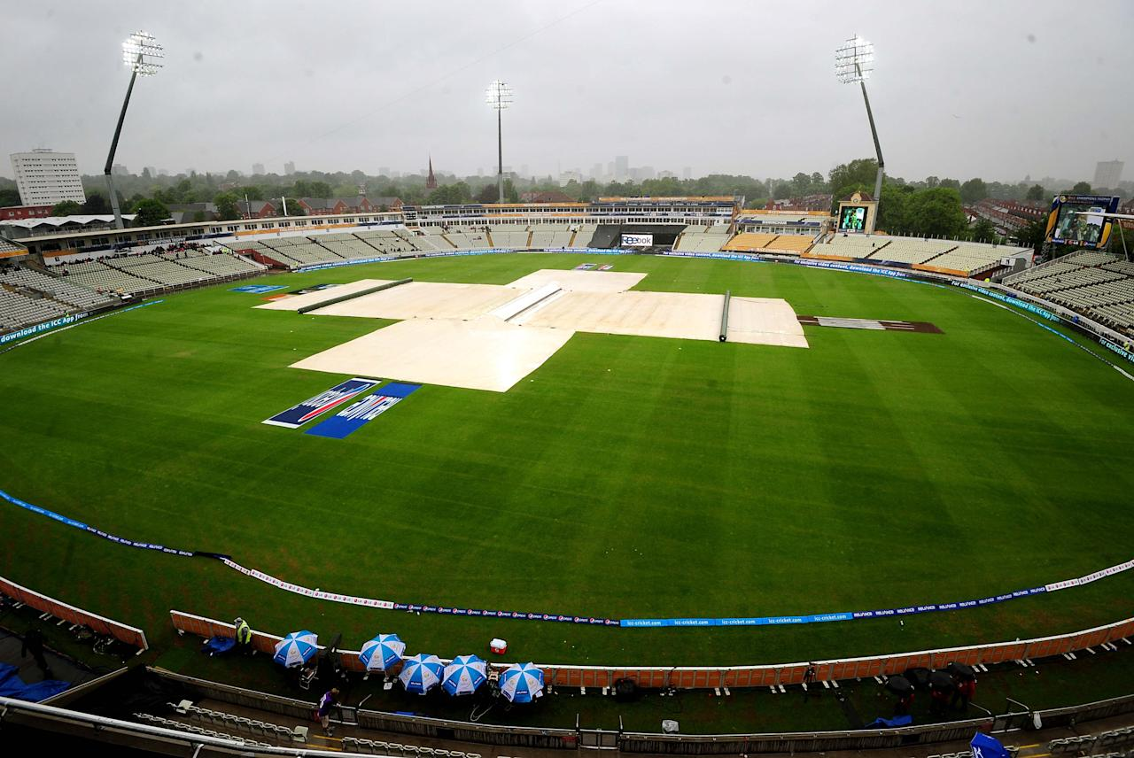 Rain stops play during the ICC Champions Trophy match at Edgbaston, Birmingham.