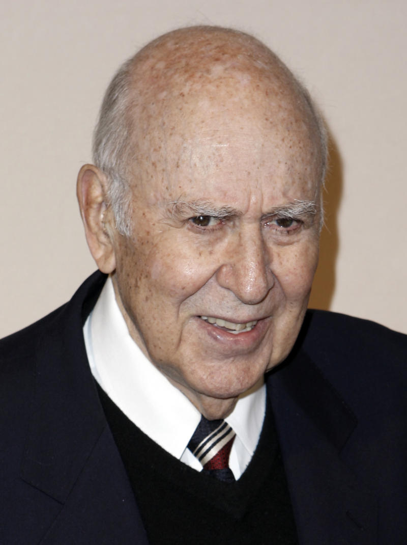 "FILE - In this Dec. 9, 2008 file photo, Carl Reiner arrives at the Academy of Television Arts and Sciences 2008 Hall of Fame Ceremony in Los Angeles. Reiner, who plays Betty White's boyfriend Max in  the TV Land series ""Hot in Cleveland,"" turned 90 on Tuesday, March 20, 2012.  (AP Photo/Matt Sayles, file)"