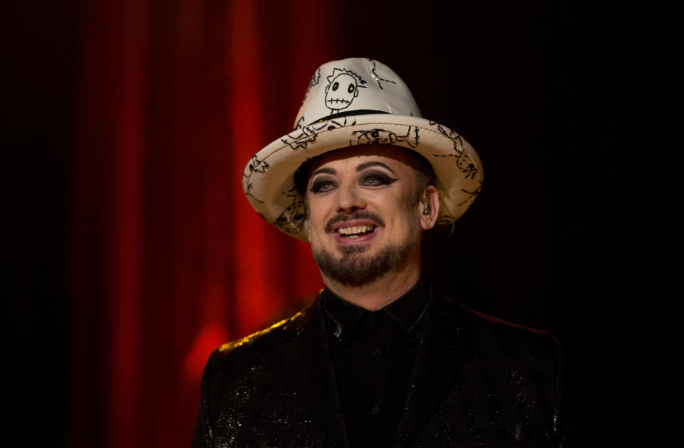 Boy George and Culture Club perform during the filming of the Graham Norton Show at BBC Studioworks 6 Television Centre, Wood Lane, London, to be aired on BBC One on Friday evening. PRESS ASSOCIATION. Issue date: Thursday December 20, 2018. Photo credit should read: PA Images on behalf of So TV (Photo by Isabel Infantes/PA Images via Getty Images)